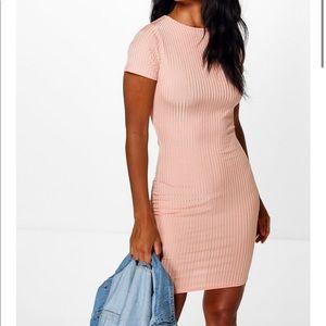 Boohoo Liz Capped Sleeve Ribbed Midi Dress